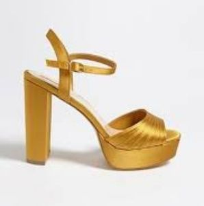 Gold/yellow strappy platform sandals